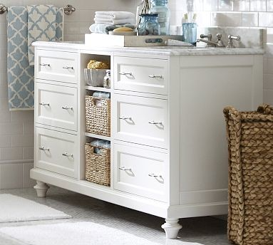 Modular Classic Double Sink Console with Drawers & Cubby Storage