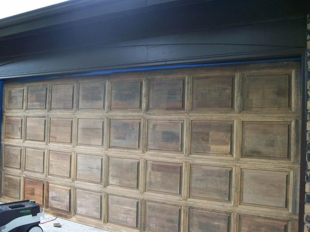 Wood Garage Door Refinishing Traditional Chicago By
