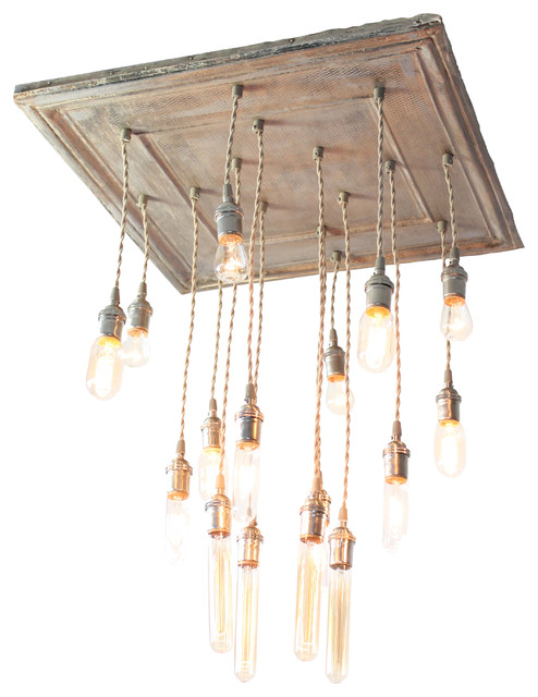 Square Salvaged Barn Tin Chandy, Antique Gold eclectic-chandeliers