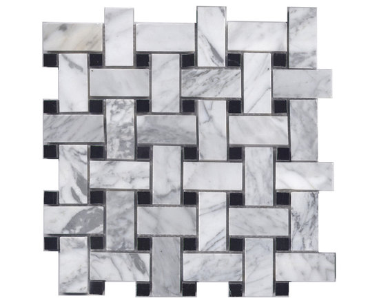 Bianco Carrara & Black Marble Basketweave -