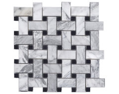 Bianco Carrara & Black Marble Basketweave traditional bathroom tile