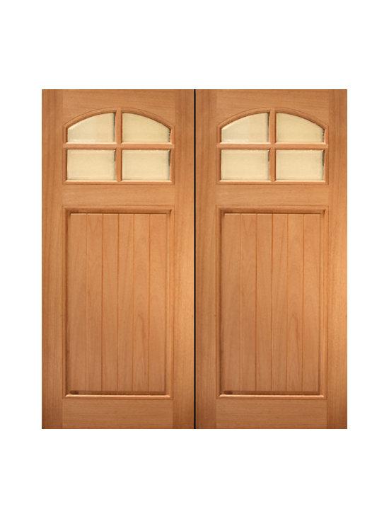"""72"""" x 80"""" (6'-0"""" x 6'-8"""") Mahogany Single entry Door, 8-Lite 2-Panel - SKU#HTC-40_2BrandAAWDoor TypeExteriorManufacturer CollectionBudget DoorsDoor ModelDoor MaterialWoodWoodgrainMahoganyVeneerPrice1640Door Size Options2(36"""") x 80"""" (6'-0"""" x 6'-8"""")  $0Core TypeSolidDoor StyleCraftsmanDoor Lite Style4 Lite , Arch LiteDoor Panel Style1 PanelHome Style MatchingCraftsman , Rustic , SouthwestDoor ConstructionPrehanging OptionsPrehungPrehung ConfigurationDouble DoorDoor Thickness (Inches)1.75Glass Thickness (Inches)Glass TypeGlass CamingGlass FeaturesGlass StyleGlass TextureGlass ObscurityDoor FeaturesDoor ApprovalsDoor FinishesDoor AccessoriesWeight (lbs)850Crating Size25"""" (w)x 108"""" (l)x 52"""" (h)Lead TimeSlab Doors: 7 daysPrehung:14 daysPrefinished, PreHung:21 daysWarranty"""