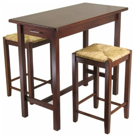 Kitchen island table with 2 rush seat stools set of 3 transitional