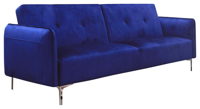 Arie Tufted Fabric Sofa Bed With Chrome Legs, Cobalt Blue contemporary ...