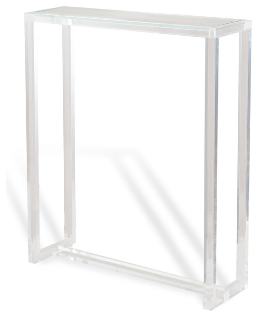 Ava modern hollywood tall narrow acrylic console table for Tall slim side table