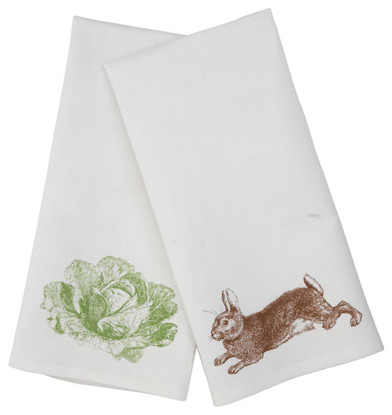Ahead By A Hare Bunny and Veggie Hand Towel traditional-dishtowels