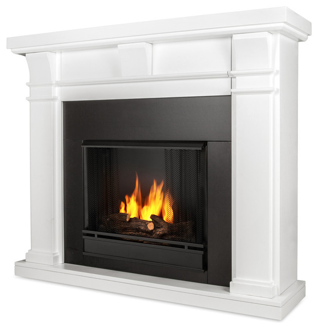 Hearth Cabinet Ventless Fireplaces: Porter Ventless Gel Fireplace, White