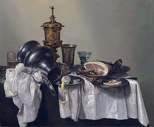 A Ham, a Peeled Lemon and an Upturned Tankard | Willem Claesz Heda - Canvas Prin midcentury-prints-and-posters