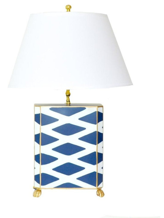 Navy Parthenon Lamp - Some pieces just make a room. This stunning lamp is one of them. With its modern geometric print and classic navy and white color palette, this hand painted lamp would make a statement in any interior. Available with white or black shade.