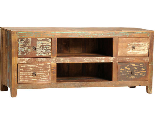 Nantucket TV Stand - A charming country piece for the home, the Nantucket TV stand creates a rustic, reclaimed look around your sleek electronics. This entertainment center is hand-built from reclaimed hardwoods and finished in a sealed medium brown with highly distressed accents. It features an open center set of shelves for housing media components and four drawers for storing your media accessories. Bring the rugged and rustic charm of an old hunting lodge into the home with this beautiful media console.
