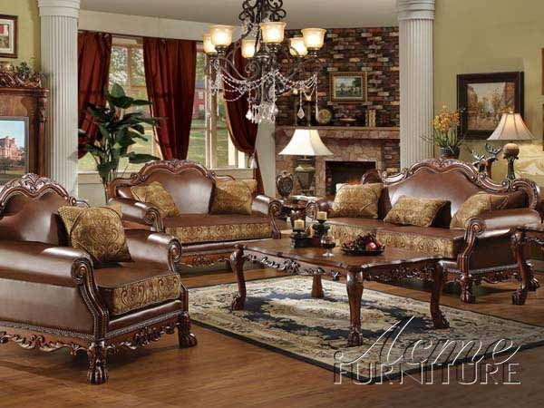 Acme furniture dresden traditional pu leather fabric 2 for Leather and fabric living room sets