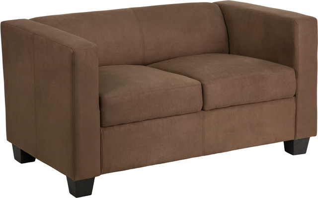 Flash Furniture Prestige Series Chocolate Brown Microfiber Loveseat Contemporary Loveseats
