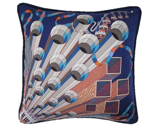 "Pretty Pillows - Hermes Throw Pillow made from the Hermes Pont D"" Orgue silk twill scarf."
