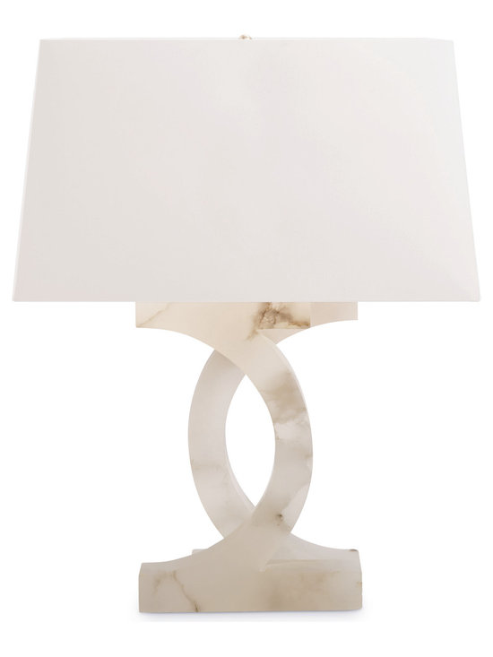 Alabaster Concentric Circles Lamp - Baker Furniture - Two half circles of creamy Italian alabaster are fused together to form its open base design. An oversized, Ivory chinette shade complements the natural color variations of the alabaster base. Its single light is set into a square of alabaster joining the two half-circles and repeated to form its square, plank base.