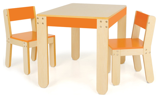little ones table and chairs orange 2 chairs and 1 table contemporary kids tables and. Black Bedroom Furniture Sets. Home Design Ideas