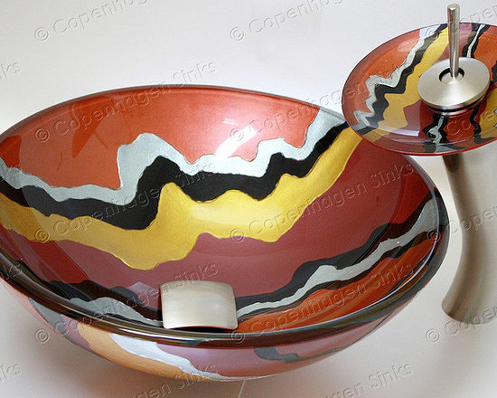 17 inch Hand Painted Multi Colored Glass Vessel Sink -