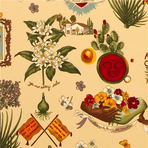 Viva Frida fabric by Alexander Henry Mexico flower heart  fabric