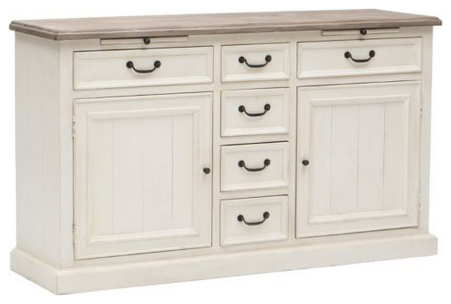 Cottage Buffet Sideboard-White - Beach Style - Buffets And Sideboards - new york - by Zin Home