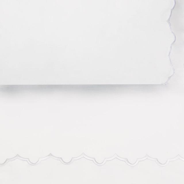 White Emb Flat Sheet, King/Cal King contemporary-sheets