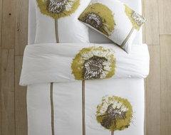 Organic Dandelion Duvet, Stone White, Twin contemporary-bedding