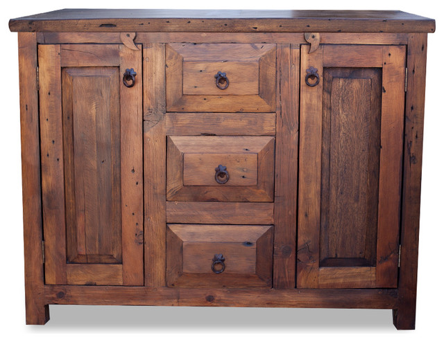 3 drawer reclaimed wood vanity 36x20x32 farmhouse for Bathroom consoles and vanities