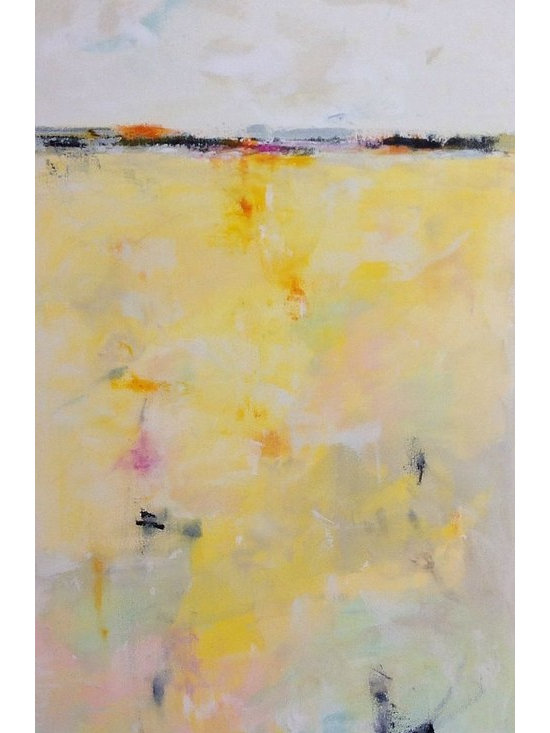 """Linda Donohue - Yellow Abstract, Minimalist Seascape- Morning Glow 24 X 48 - This is an original acrylic painting on gallery wrapped canvas. It measures 24 x 48 x .5"""" depth and is wired and ready to hang or will look very nice framed. This painting is inspired by the San Francisco Bay Area where I live."""
