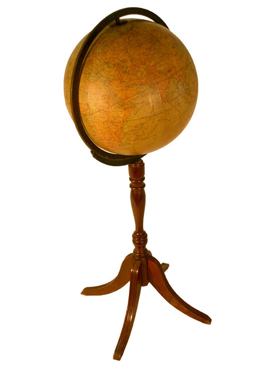 Antique Terrestrial Floor Library Globe - Made in Chicago in the 1930's this Replogle terrestrial floor globe has a nice metal mounting with 3 legged animal paw .