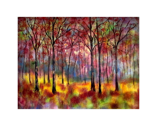 Fall Woodland (Original) by Jean Vadal Smith Bentson - Autumn days , full of sunshine , colors changing to hues of reds and copper. I  wanted you to feel the sunshine as you walked thru the scene . Don't you just love the fall and all its splendor , reminds me of Michigan fall days before the first hint of winter cold.