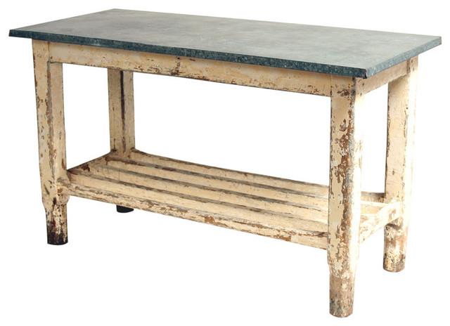 Vintage Galvanized Work Table Kitchen Island traditional-kitchen-islands-and-kitchen-carts