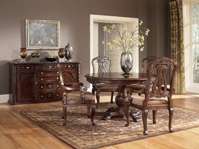 5 pc north shore round pedestal dining table set ashley