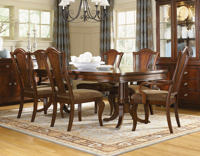 Murray double pedestal formal dining set traditional for Formal dining room furniture sets