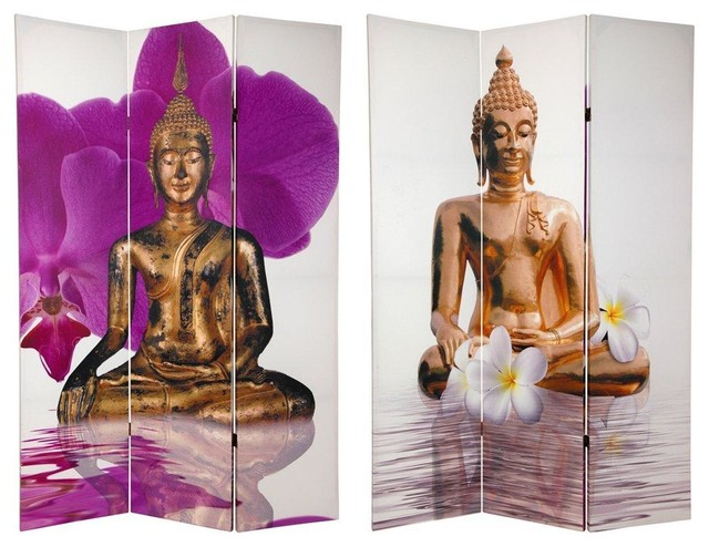 6 ft. Tall Double Sided Thai Buddha Room Divider asian-screens-and-room-dividers