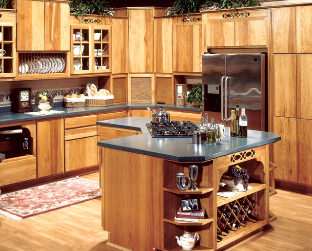 Canyon creek cornerstone copenhagen in hickory with a for Canyon creek kitchen cabinets