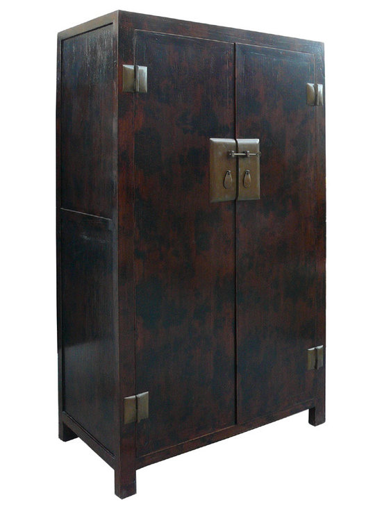 Rustic Brown Black Thick Hardware Tall Armoire - This cabinet has a simple shape with sophiscated brown base black mark pattern lacquer on the surface. The hardware is elegant stylish look . It has movable shelves for accessories storage or as an armoire.