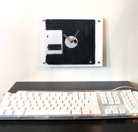 Clock Floppy Disk Old School Flat Black White and by blueorder eclectic clocks