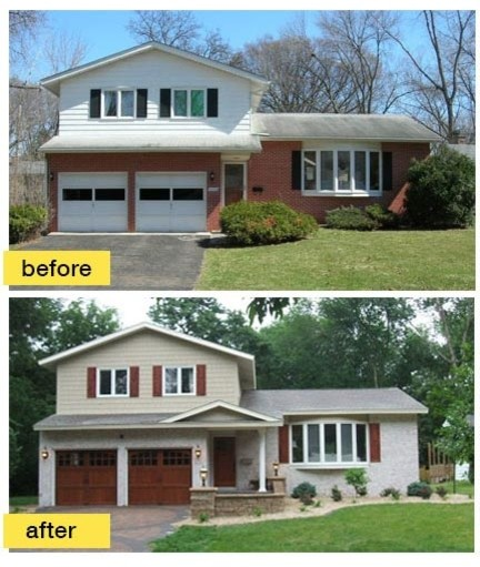 Before and after garage makeovers midcentury exterior for Split level remodel before and after