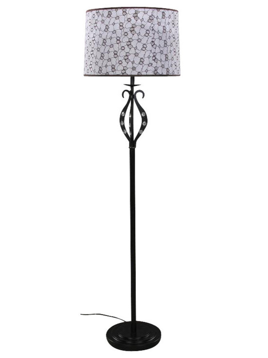 Joshua Marshal - Single Light Down Lighting Curved Floor Lamp With Crystal Accents - Finish: Black