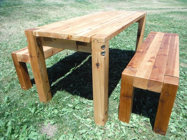 bolt cedar patio table benches farmhouse patio