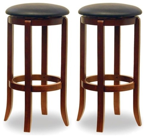 "30"" Walnut Swivel Barstool (Set of 2) modern-bar-stools-and-counter-stools"