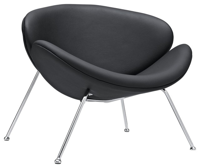 Slice Style Chair - Italian Leather, Black modern-living-room-chairs
