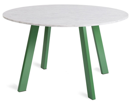 Blu Dot - Right Round Marble Dining Table, Grass - Four powder coated steel legs provide a sculptural and sturdy base for a honed marble top. An easy companion to any chair, the design holds its own in the dining room, office or entryway. Legs available in either matte grass green or matte black.