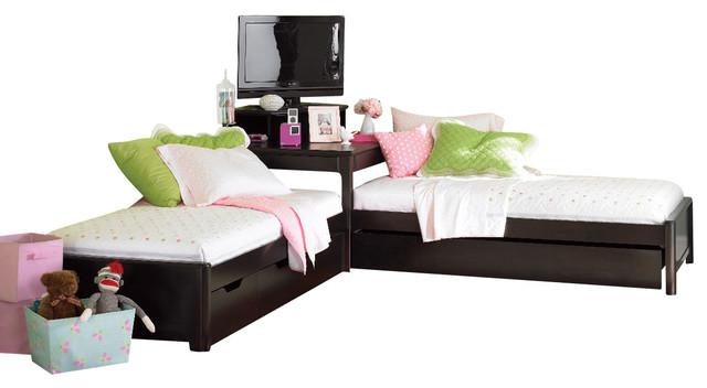 Lea Midtown 2 Twin Platform Beds with Corner Unit in Dark Chocolate - Traditional - Kids Beds ...