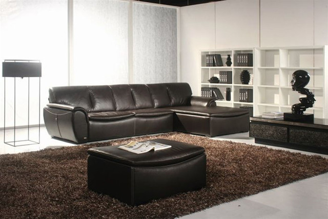 Exclusive Curved Sectional Sofa in Leather with Pillows modern-sectional-sofas