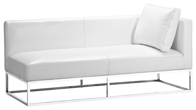 Zuo Atom Left Arm-Facing White Bench Sofa contemporary-upholstered-benches