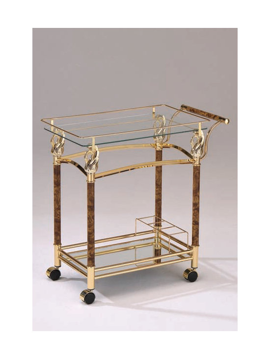 Kitchen Furniture - Mace Golden, Clear Serving Cart