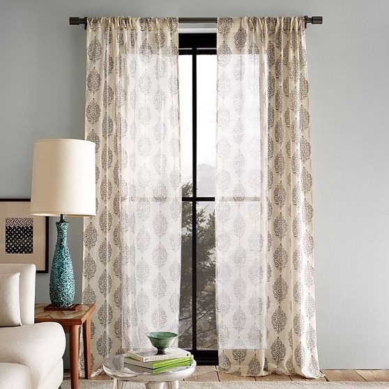 Silk paisley window panel modern curtains by west elm for West elm window treatments
