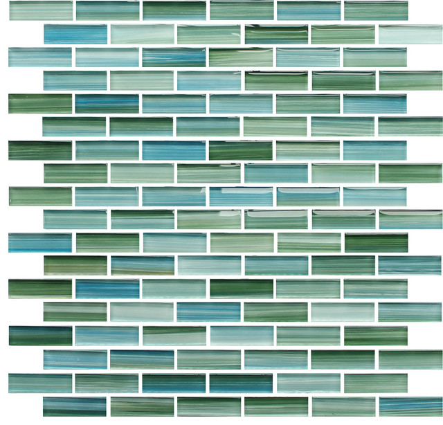 Rip Curl Green and Blue Hand Painted Glass Mosaic Subway Tile, Mixed, 10 Square contemporary-tile