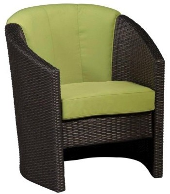 Home Styles Riviera Green Apple All-Weather Wicker Barrel Accent Chair contemporary-patio-furniture-and-outdoor-furniture