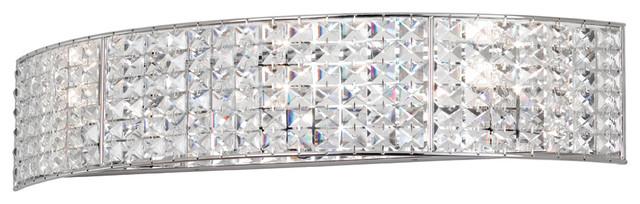 Dainolite 4 Light Crystal Vanity Fixture Polished Chrome Finish Contemporary Bathroom