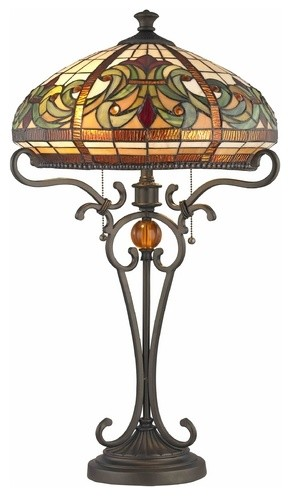 bronze pull chain table lamp with tiffany glass table. Black Bedroom Furniture Sets. Home Design Ideas